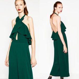 NEW Zara Halter Open Back Green Ruffle Jumpsuit